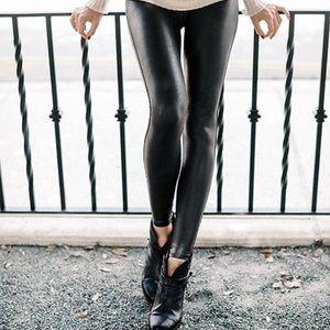 Spanx Vegan Leather Leggings Black